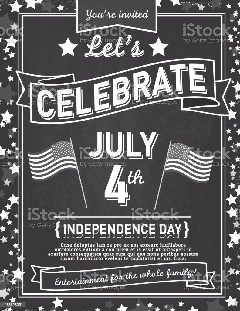 Fourth Of July Chalkboard Celebration Design Template Royalty Free