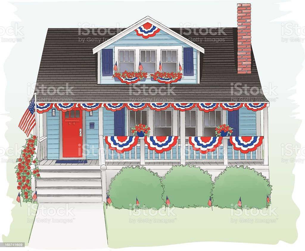 Fourth of July decorated bungalow. vector art illustration