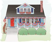 Fourth of July decorated bungalow.