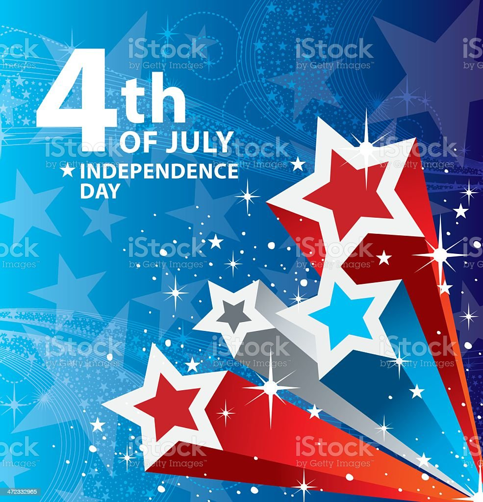 Fourth of July design using red, white, and blue stars vector art illustration