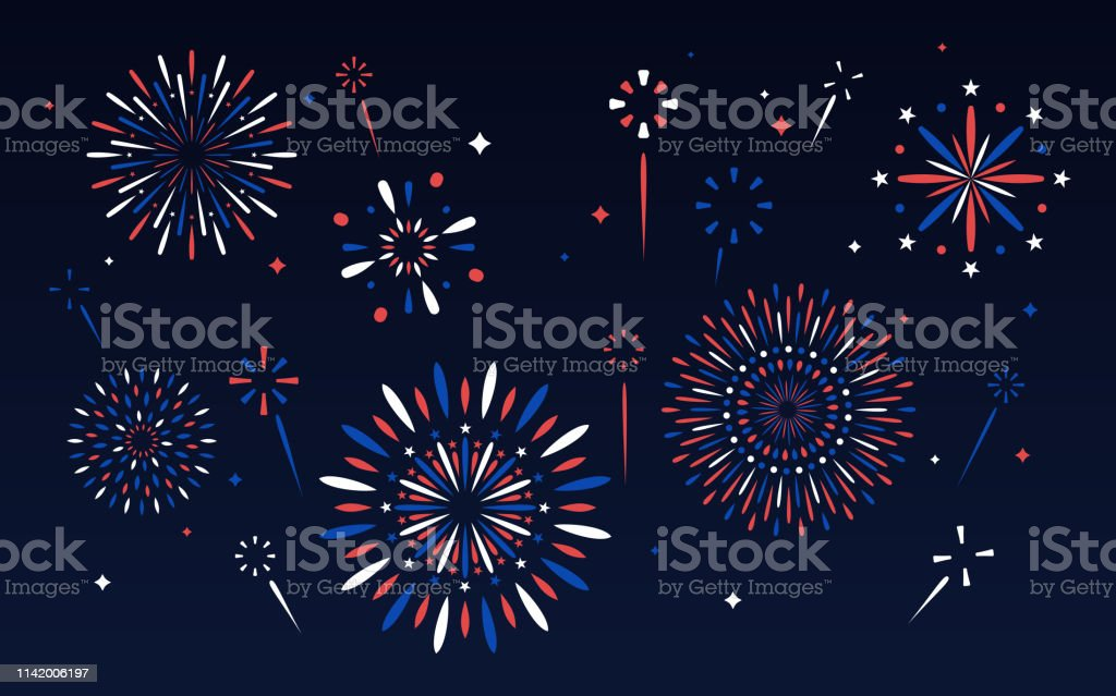 Fourth of July Fireworks Display Independence day fourth of July patriotic fireworks display. Abstract stock vector