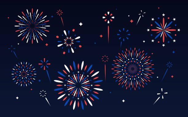 Fourth of July Fireworks Display Independence day fourth of July patriotic fireworks display. firework display stock illustrations