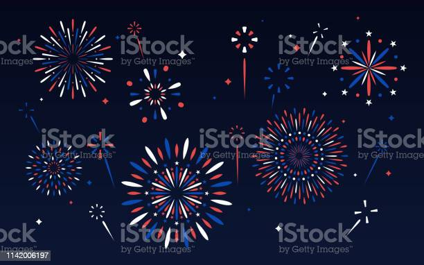 Fourth Of July Fireworks Display Stock Illustration - Download Image Now