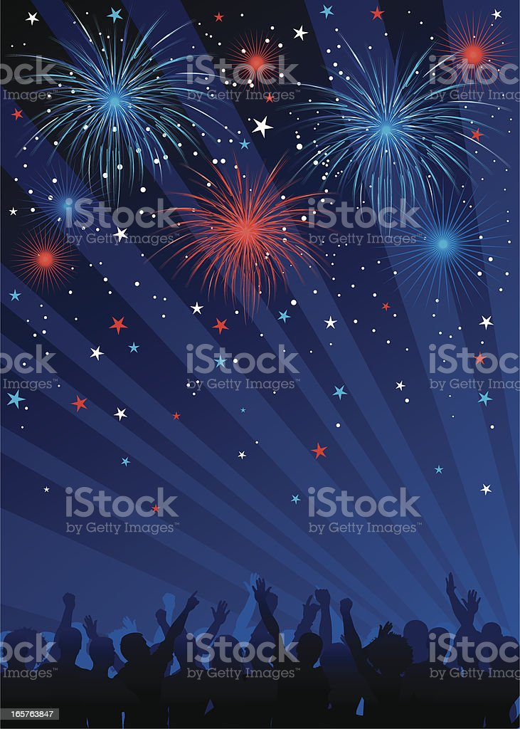 Fourth of july fireworks with crowd royalty-free stock vector art
