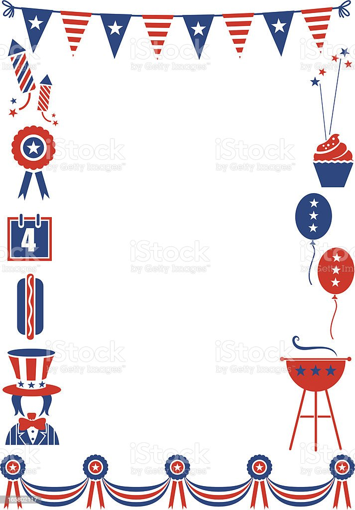 Fourth of July Frame vector art illustration