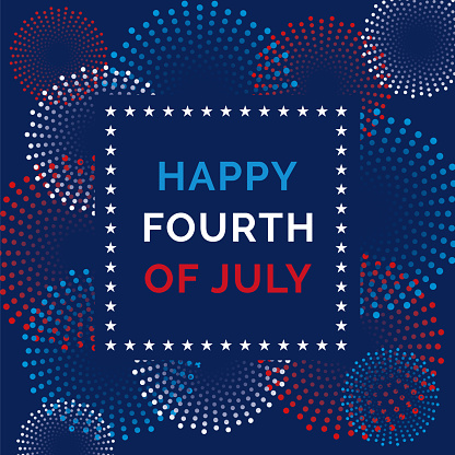 Fourth of July Greeting Card with Fireworks.