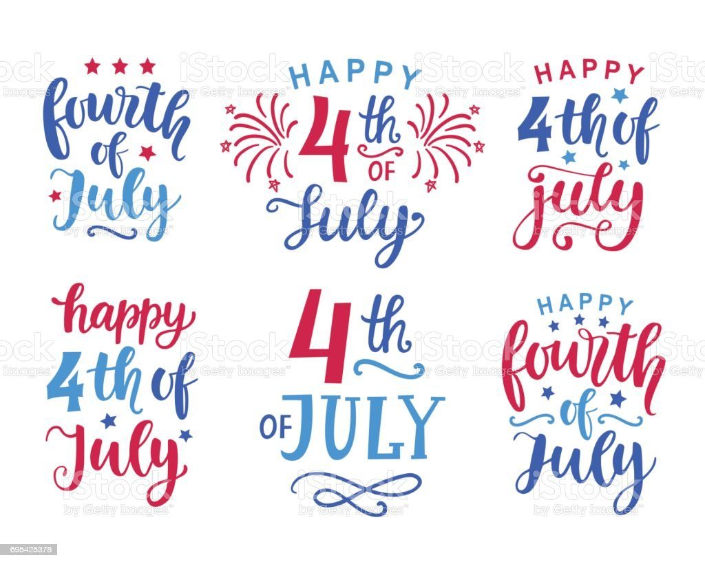Fourth of July hand written ink lettering set Fourth of July hand written ink lettering set. United States of America Independence day  typographic design for poster, brochure, greeting card template. Vector illustration American Flag stock vector