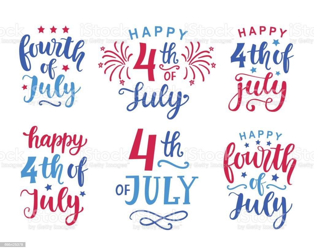 Fourth of July hand written ink lettering set vector art illustration