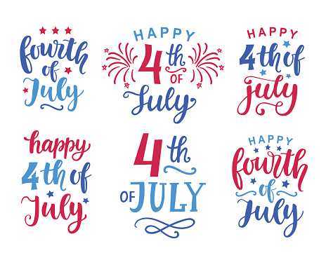 Fourth Of July Hand Written Ink Lettering Set Stock Illustration - Download Image Now