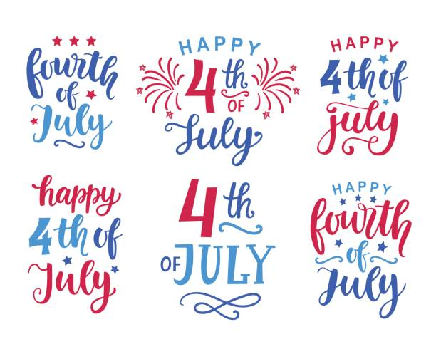 7 월 손 잉크 문자 집합 작성 - happy 4th of july stock illustrations