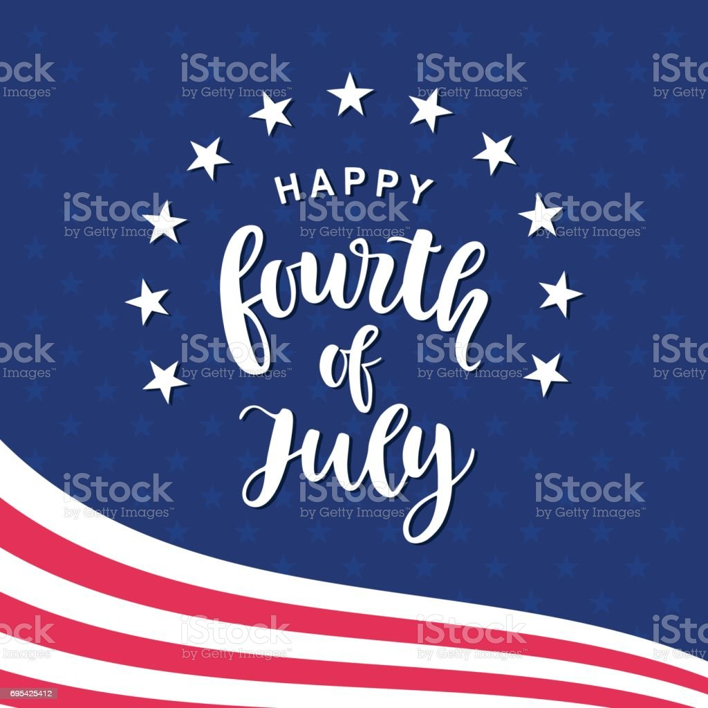 Fourth of July hand written ink lettering vector art illustration
