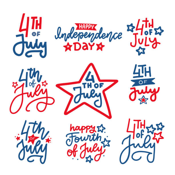 fourth of july hand written trendy line lettering set. united states of america independence day typographic design for poster, brochure, greeting card template. vector flat hand drawn illustration - happy 4th of july stock illustrations