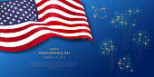 Fourth of July holiday banner on navy blue background with fireworks. American Independence Day Party poster, flyer, greeting card design. July 4th. Veterans day. Space for text. Vector illustration.