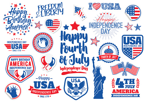 Fourth of July Holiday lettering labels