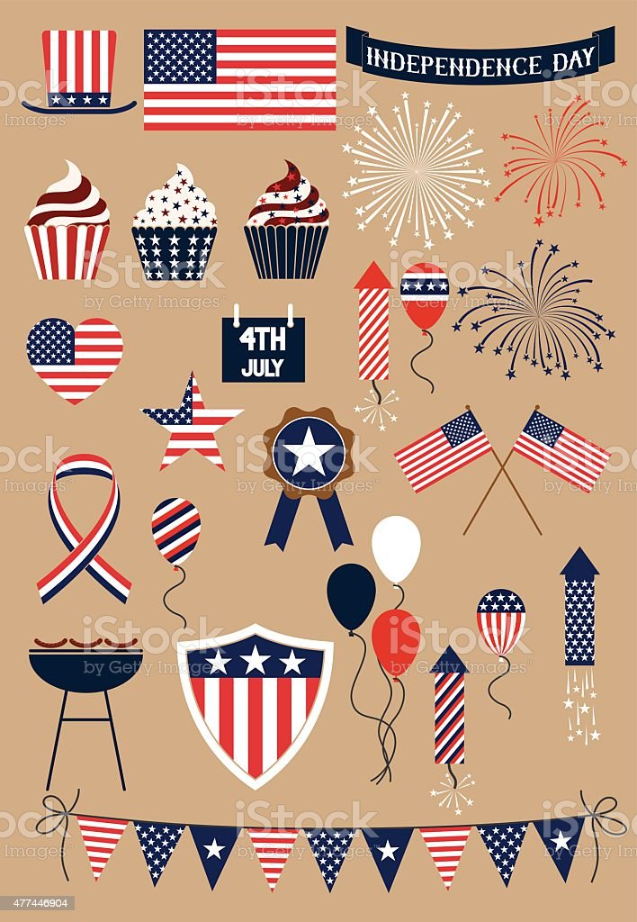 Fourth of july icons vector art illustration