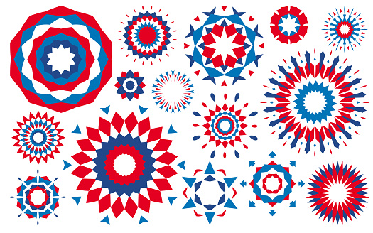 Fourth of July Independence Day Fireworks Abstract Patriotic Design Elements