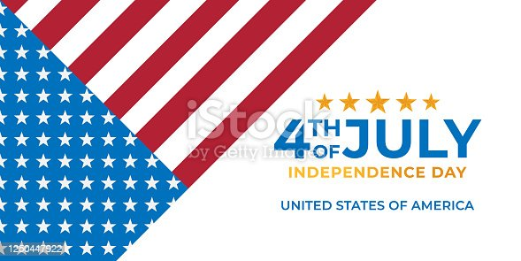 istock Fourth of July Independence Day of United States of America Banner Background Vector illustration. Independence Day of United States of America 4th of July with American Flag vector design. 1250447922