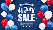 istock Fourth of July. Independence Day Sale Banner Design with Balloon american flag color. USA National Holiday Vector Illustration with Special Offer Typography Elements for Coupon, Voucher, Banner, Flyer 1285641298