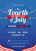 Fourth of July invitation poster template vector design, USA Independence day flyer