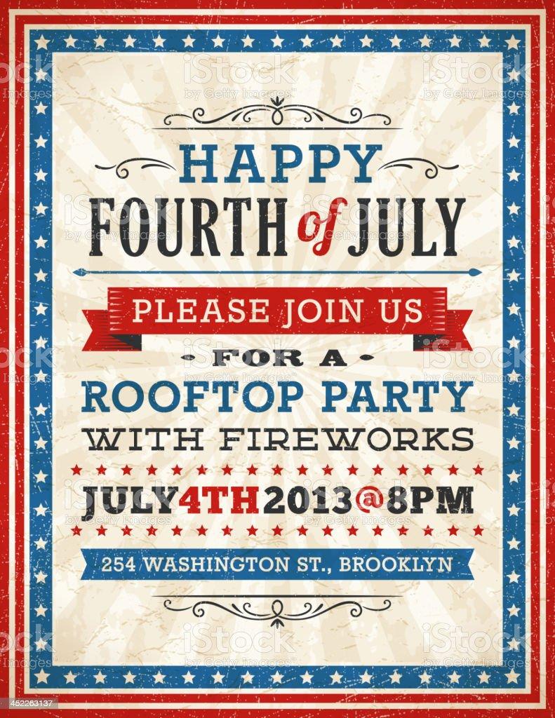 Fourth of July Invitation vector art illustration