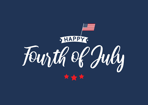 Fourth of July lettering blue card with USA flag. Vector illustration.