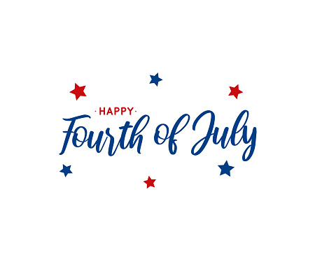 Fourth of July lettering on white background. Vector illustration.