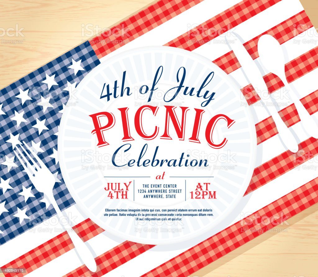Fourth of July or Independence Day Picnic invitation design template vector art illustration