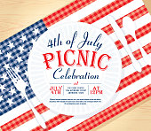 Fourth of July or Independence Day Picnic invitation design template