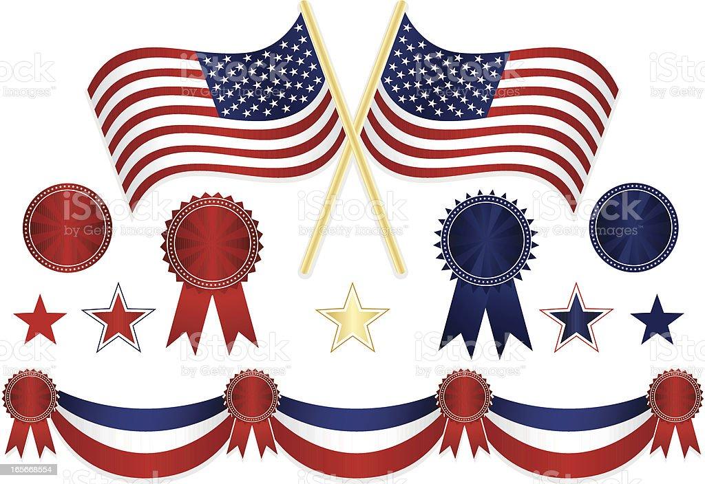 Fourth of July or Patriotism Set vector art illustration