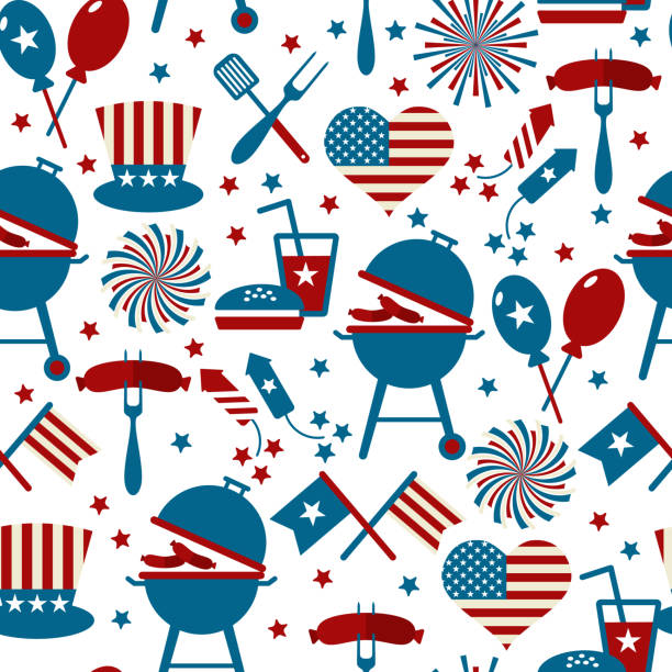 fourth of july party and memorial day icons. seamless pattern. - happy 4th of july stock illustrations