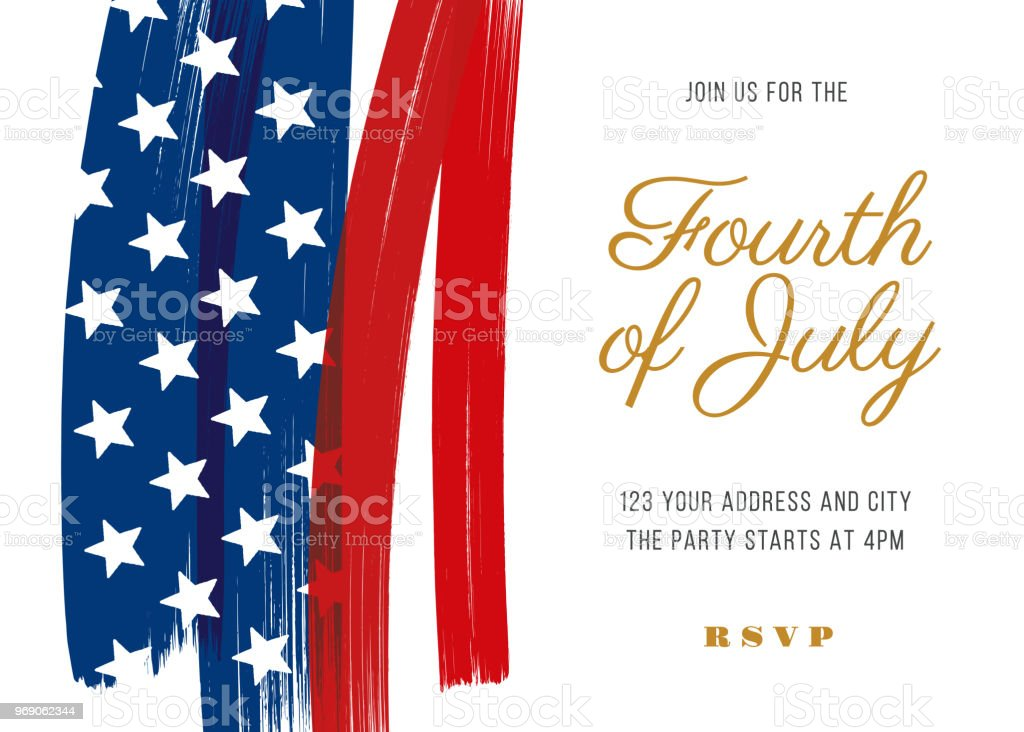 Fourth of July Party Invitation Template - Illustration vector art illustration