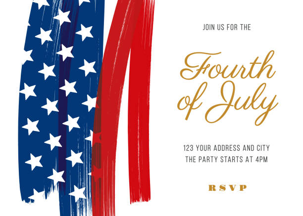 Fourth of July Party Invitation Template - Illustration Fourth of July Party Invitation Template - Illustration independence day illustrations stock illustrations