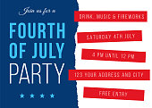 Fourth of July Party Invitation Template. Poster, card, banner and background. Vector illustration. Stock illustration