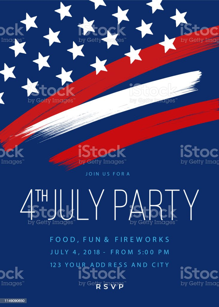 Fourth of July Party Invitation Template Fourth of July Party Invitation Template - Illustration Advertisement stock vector