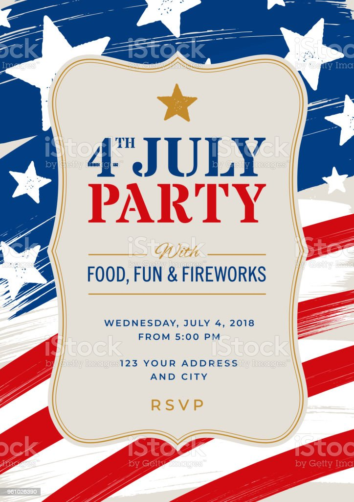Fourth Of July Party Invitation Template Stock Illustration