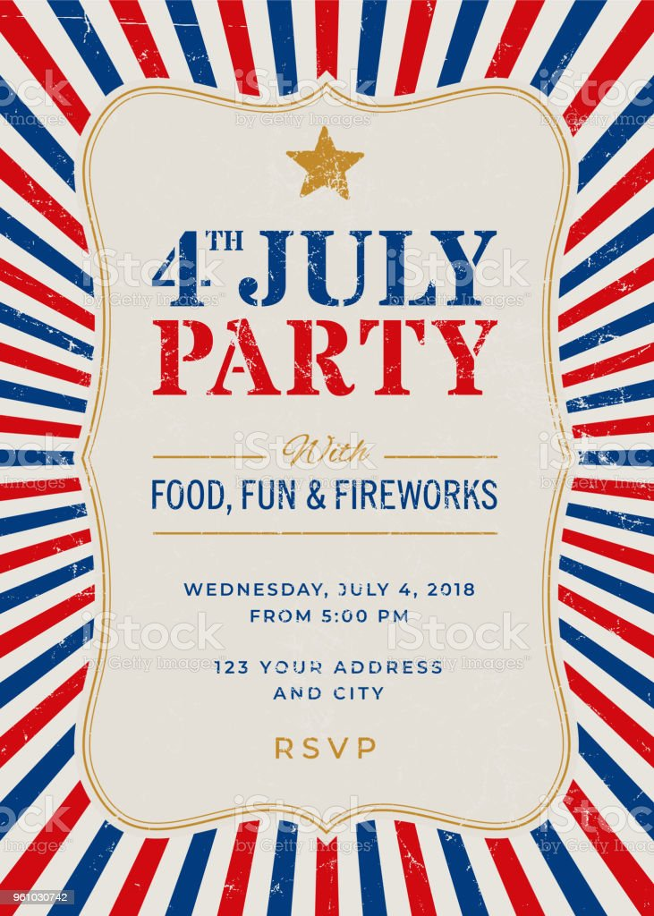 fourth of july party invitation template stock vector art more