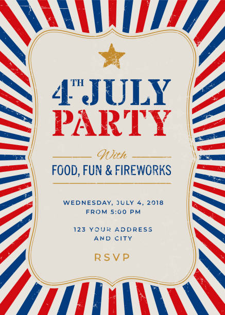 Fourth of July Party Invitation Template Fourth of July Party Invitation Template - Illustration happy 4th of july illustrations stock illustrations