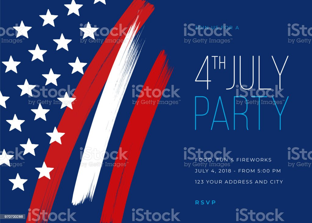 Fourth of July Party Invitation Template vector art illustration