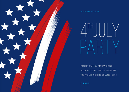 Fourth Of July Party Invitation Template Stock Illustration - Download Image Now