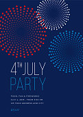 Fourth of July Party Invitation with Fireworks - Illustration