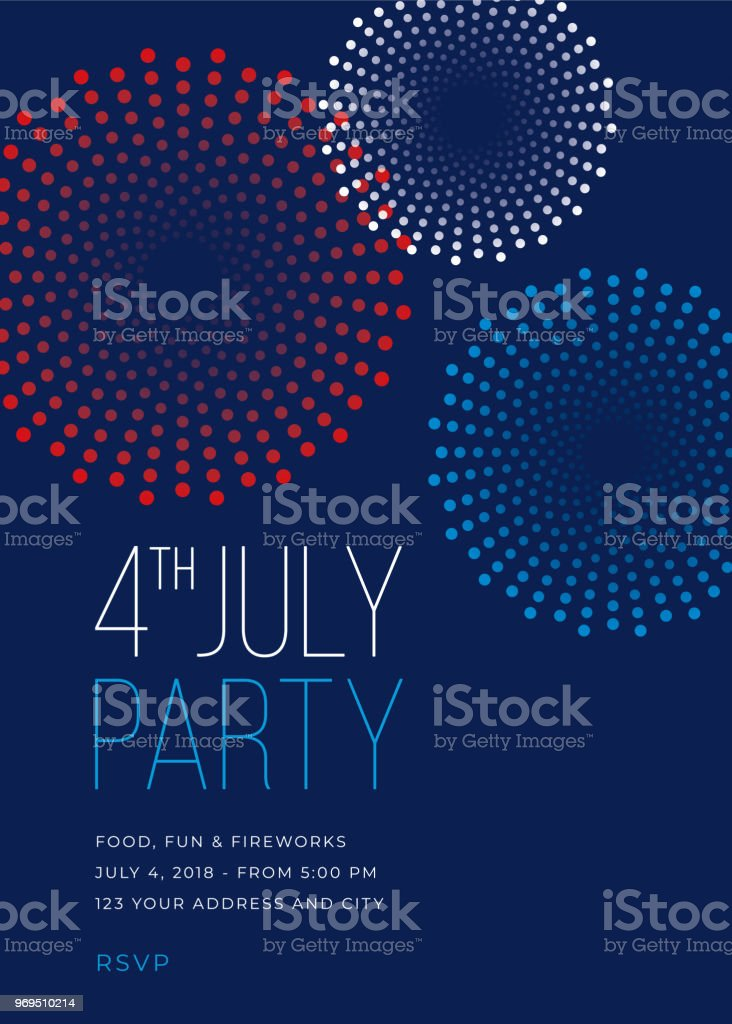 Fourth of July Party Invitation with Fireworks - Illustration vector art illustration