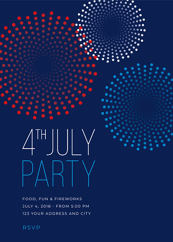 Fourth Of July Party Invitation With Fireworks Illustration Stock Illustration - Download Image Now
