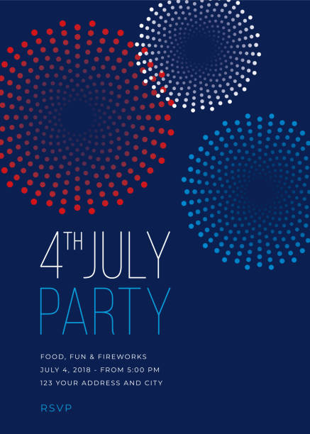 Fourth of July Party Invitation with Fireworks - Illustration Fourth of July Party Invitation with Fireworks - Illustration independence day illustrations stock illustrations