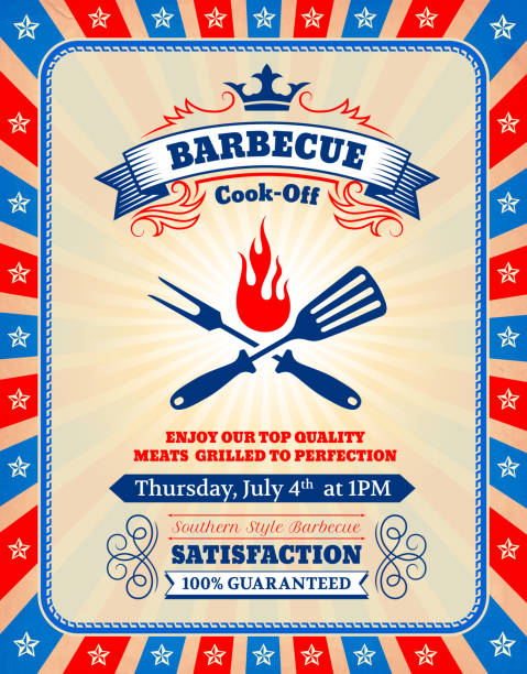 Fourth of July Patriotic American Barbecue Royalty free vector 4th of July Barbecue Party invitation card American patriotic Background. The festive summer party card is yellow and tan in color with stars and stripes frame. The standard postcard size invitation is 100% editable vector graphic and has party invitation text. Icon download includes vector graphic and jpg file. cooking competition stock illustrations