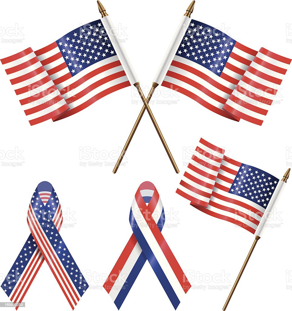 Fourth of July Patriotic flags and ribbons vector art illustration
