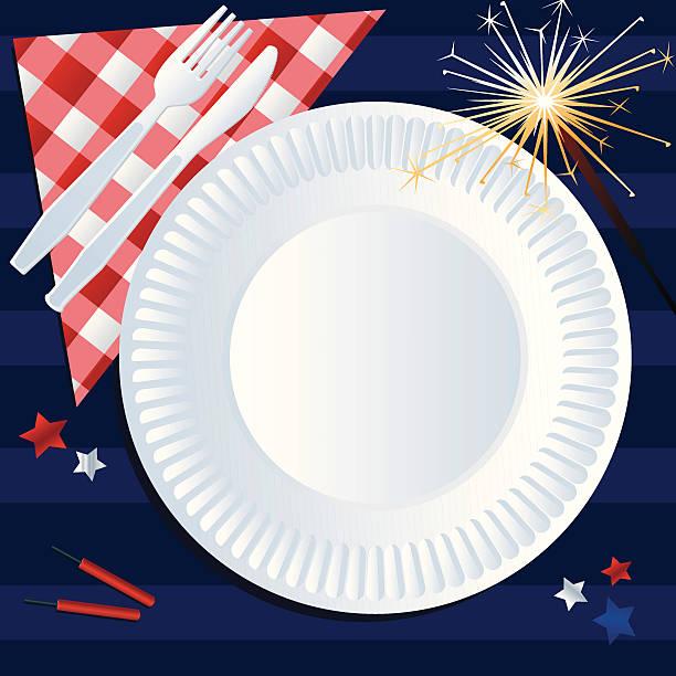 fourth of july picknick - plastikteller stock-grafiken, -clipart, -cartoons und -symbole