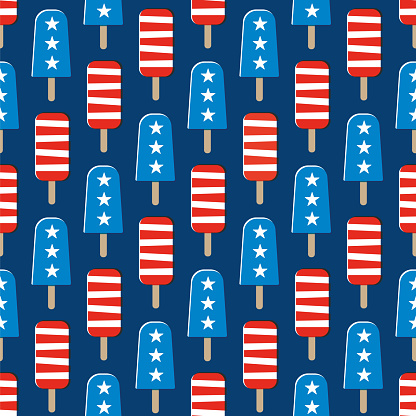 Fourth of July Popsicles seamless pattern.