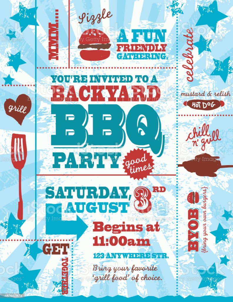 Fourth of July red, white and blue BBQ invitation template royalty-free stock vector art