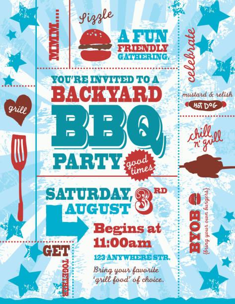 ilustraciones, imágenes clip art, dibujos animados e iconos de stock de cuatro de julio de color rojo, azul y blanca barbacoa plantilla de la invitación - fiesta en el jardín