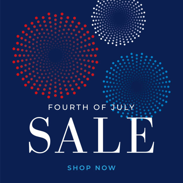 Fourth of July sale design for advertising, banners, leaflets and flyers - Illustration Fourth of July sale design for advertising, banners, leaflets and flyers - Illustration fireworks stock illustrations
